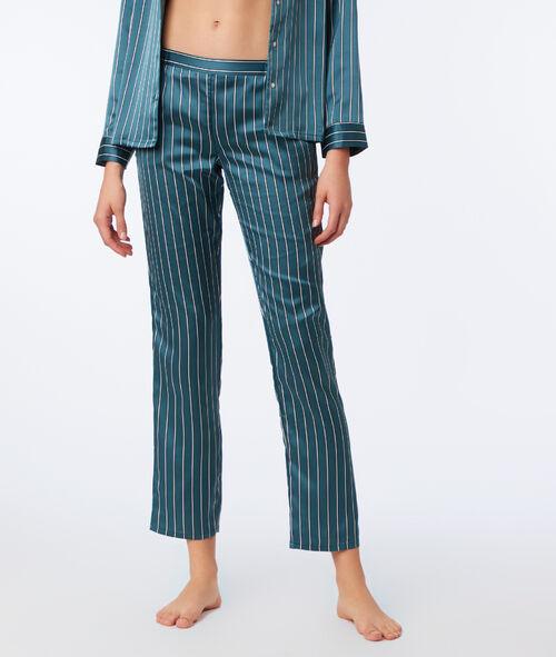 Pantalón satén estampado de rayas