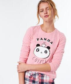Camiseta manga larga panda rosa.