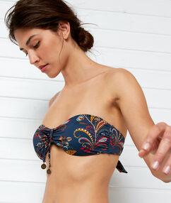 Sujetador bikini tirantes extraíbles imp azul marino.