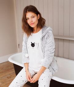 Pijama 3 piezas estampado conejos blanco.
