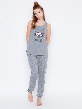 Pantalón largo estampado c.gris.