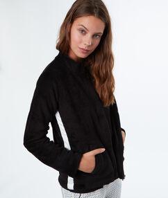 Chaqueta tejido peluche negro.