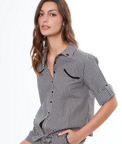 Camisa pijama estampado cuadros vichy negro.
