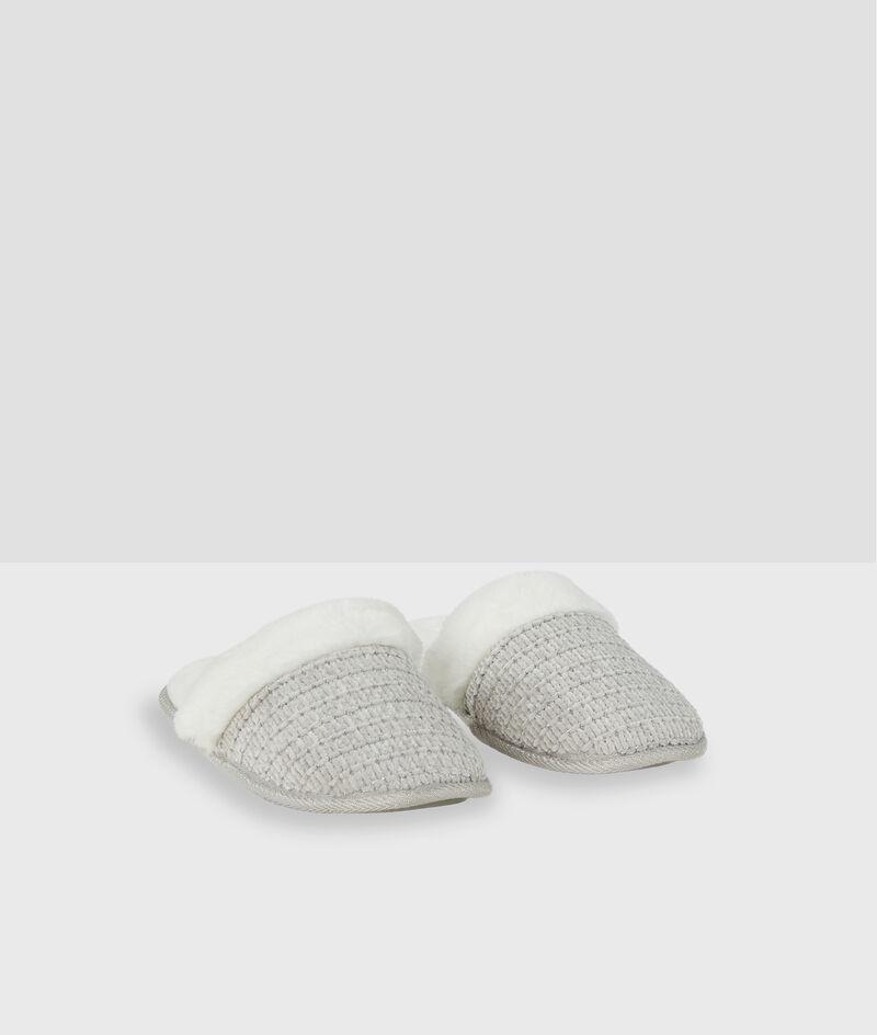 Zapatillas destalonadas tejido peluche;${refinementColor}