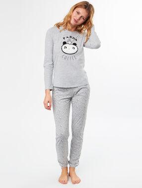 Pijama 3 piezas panda c.gris.