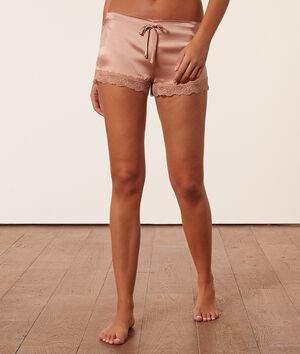 Pantalón corto de seda y encaje;${refinementColor}