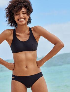 Top bikini abertura espalda negro.
