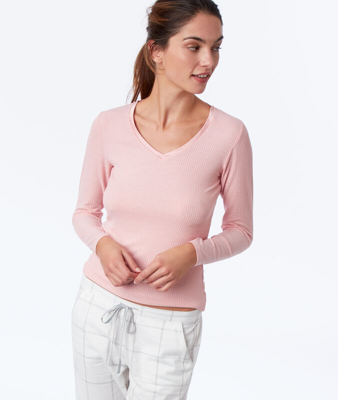 Camiseta manga larga canalé rosa.
