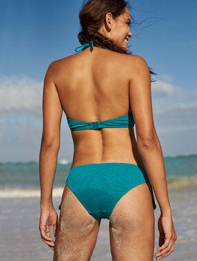 Braguita bikini estampado relieve turquesa.