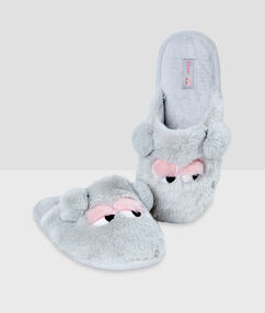 Zapatillas tejido peluche c.gris.