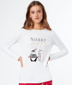 Camiseta estampado navideño blanco.