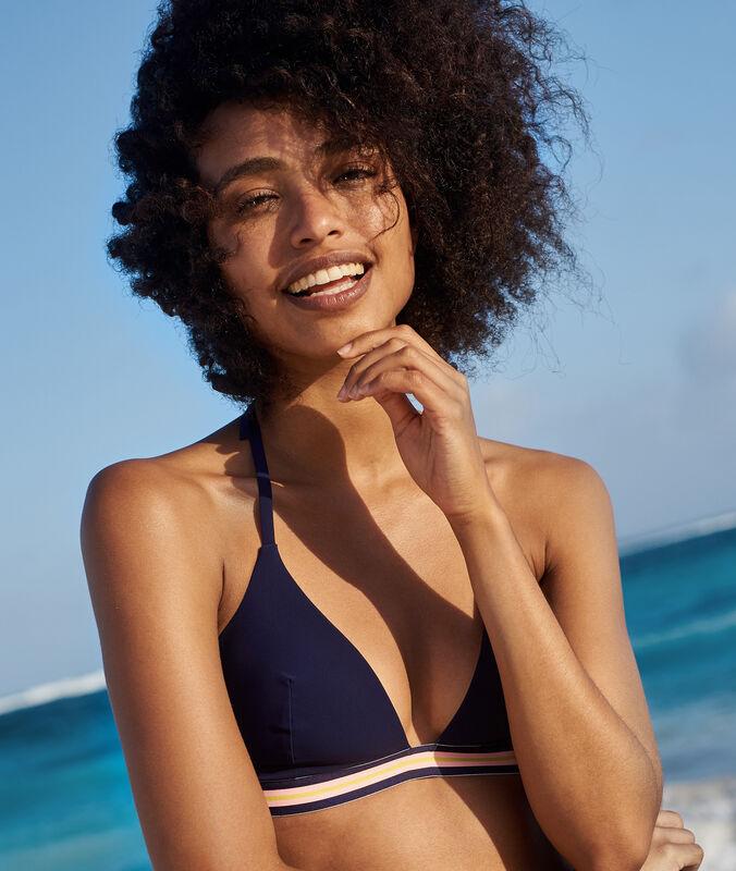 Sujetador bikini triangular franja deportiva azul marino.