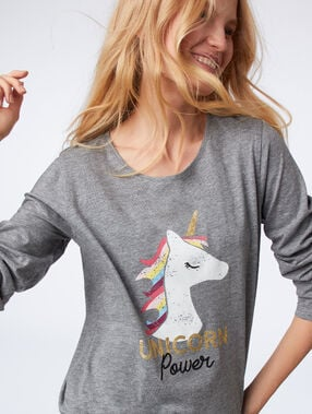 Camiseta manga larga unicornio antracita.