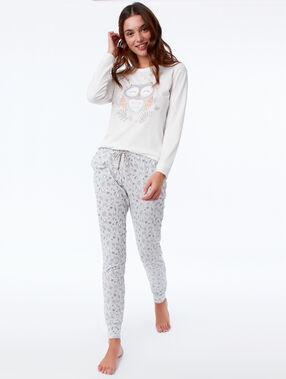 Pijama tres piezas  búho c.gris.