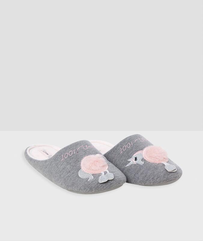 Zapatillas forma unicornio c.gris.