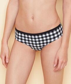 Culote bikini estampado vichy retro negro.