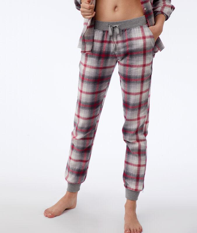 Pantalón estampado de cuadros c.gris.