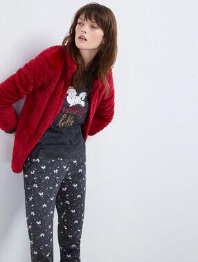 Pijama 3 piezas motivos navideños rojo.