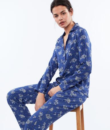 Pantalón estampado cachemira azul.