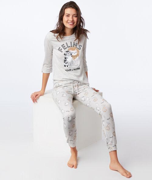 Camiseta manga 3/4 felinos