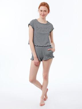 Camiseta estampada de rayas suaves volantes negro.