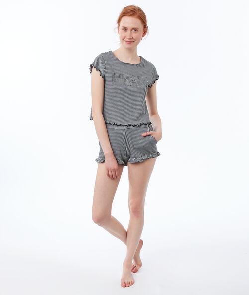 Camiseta estampada de rayas suaves volantes