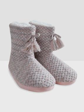 Zapatillas tipo botines trenzadas c.gris/rosa.
