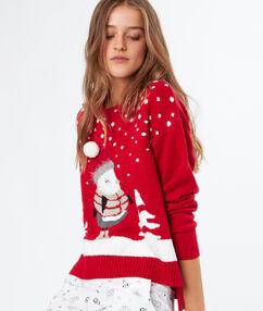 Jersey navideño rojo.