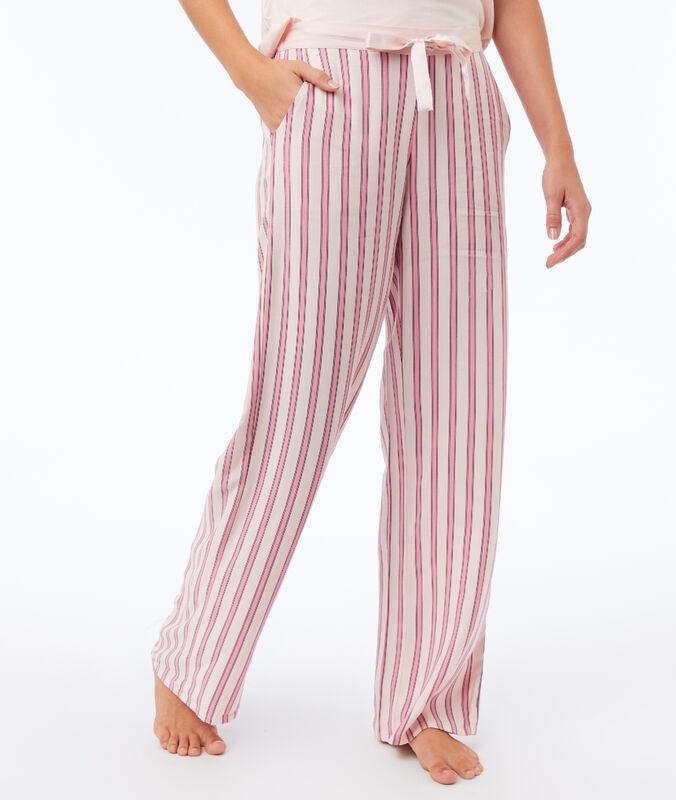 Pantalón estampado de rayas rosa.