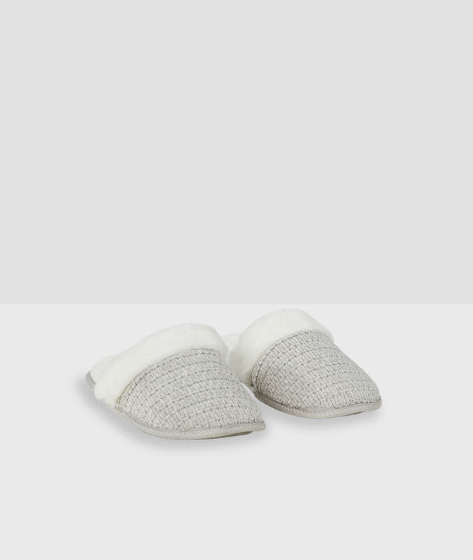 Zapatillas destalonadas tejido peluche c.gris.