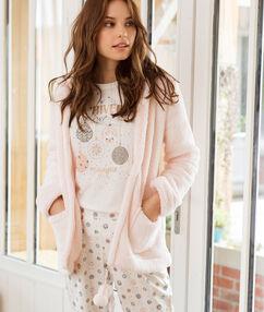 Pijama 3 piezas estampado rosa.