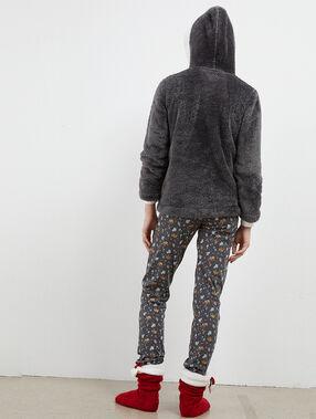 Pijama 3 piezas elefante antracita.