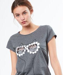 Camiseta gato gafas de sol c.gris.