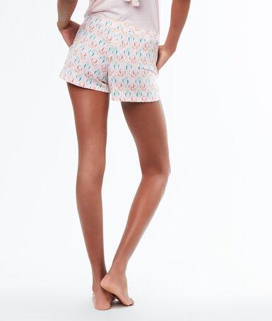 Pantalón corto estampado tucanes rosa.
