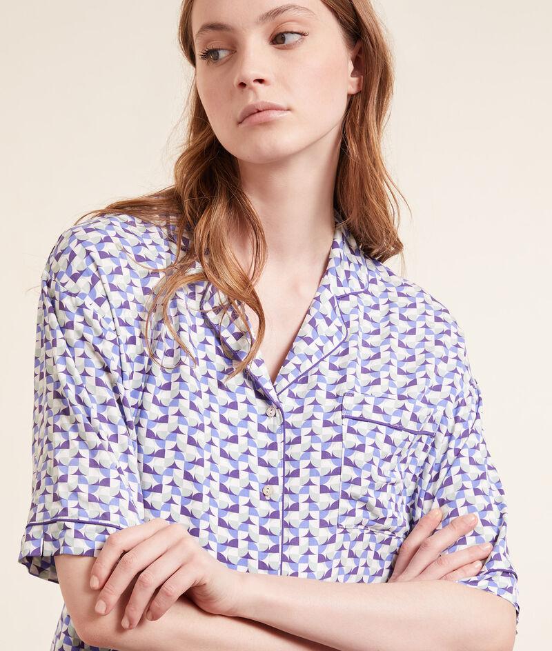 Camisa pijama estampado geométrico;${refinementColor}