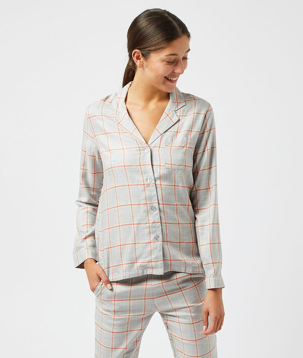 Camisa pijama, estampado cuadros;${refinementColor}
