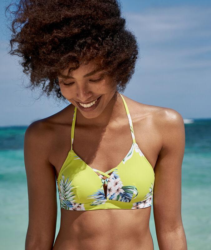 Sujetador bikini triangular estampado tropical anís.