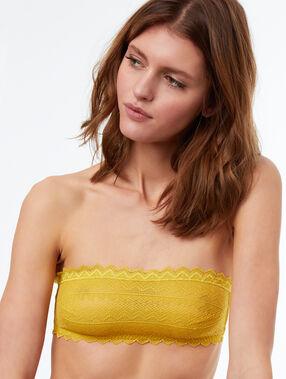 Sujetador bandeau de encaje amarillo.