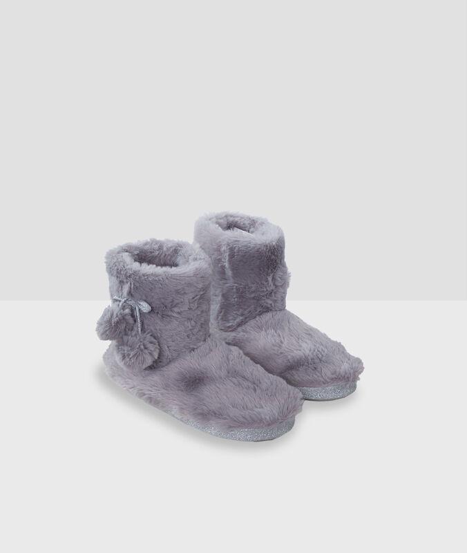 Zapatillas tipo botines tejido peluche c.gris.