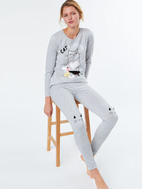 Camiseta manga larga gato c.gris.