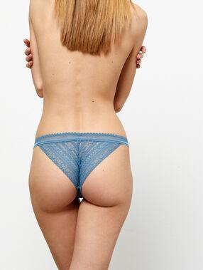 Braguita brasileña de encaje y microfibra azul claro.