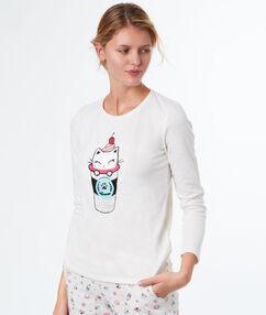 T-shirt imprimé chat blanc.