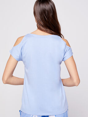 Camiseta hombros al descubierto dibujo palmera azul.