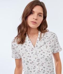 Camisa pijama estampado unicornios blanco.