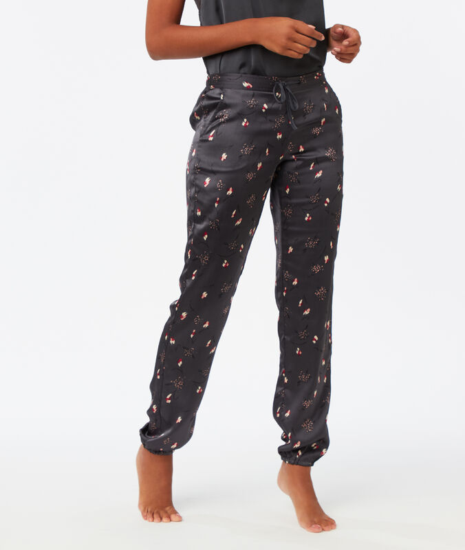 Pantalón estampado de satén c.gris.