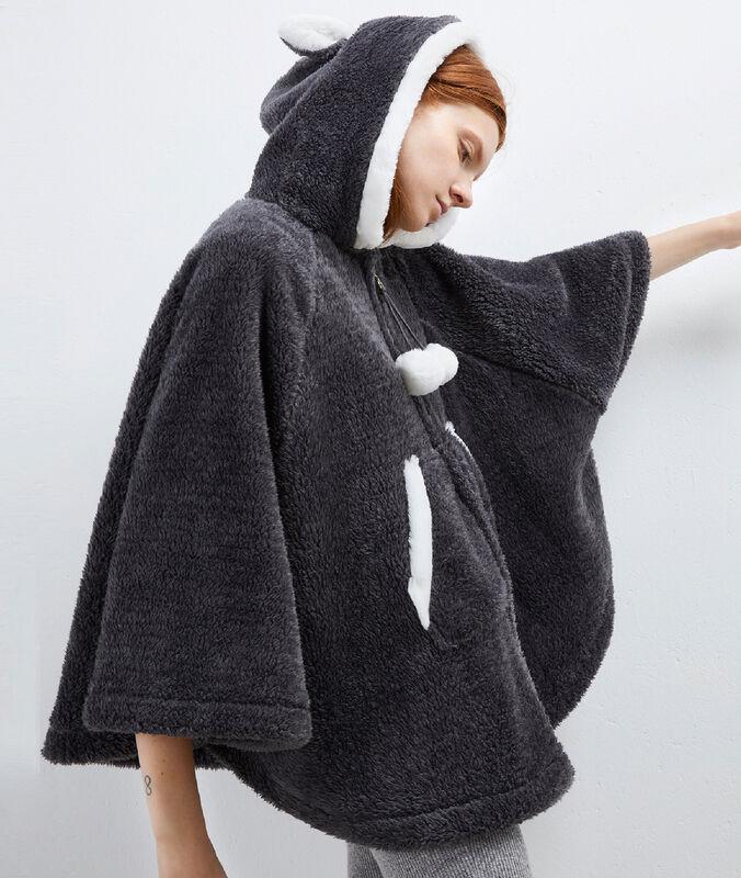 Poncho con capucha tejido peluche antracita.