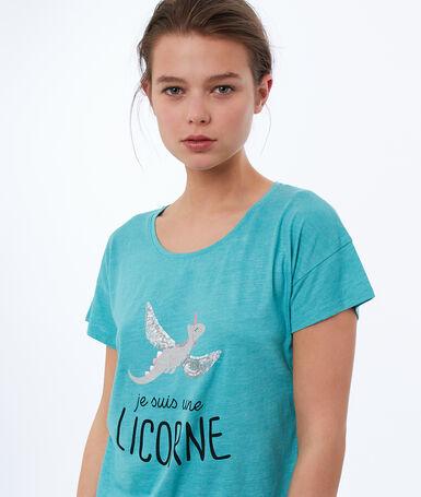 Camiseta estampado dinousaurio azul.
