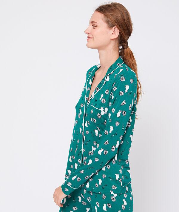 Camisa pijama estampado felinos. Viscosa ecoresponsable