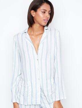 Camisa pijama estampado a rayas blanco.