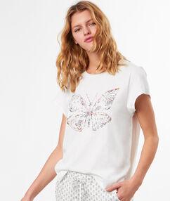 T-shirt imprimé papillon blanc.